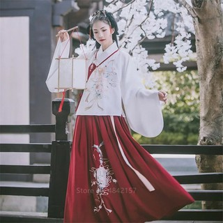 New Year Traditional Chinese Festival Outfit Clothing Female Hanfu Women Performance Ancient Folk Dance Fairy Dress