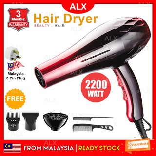 ALX Malaysia Professional 2200W Strong Wind Ionic Travel Hair Dryer 8080