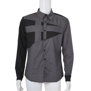Top Quality Mens Slim Fit Unique Neckline Stylish Dress Long Sleeve Casual Shirt Gray Size M/US XS