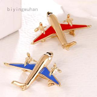 biyingwuhan  Airplane Model Brooch Red Enamel Gold Color Metal Brooches Pins Clothes Suit Accessories