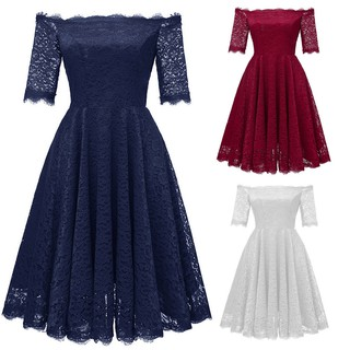 Women Vintage Off Shoulder Princess Floral Lace Cocktail Party Aline Swing Dress