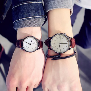 Leather fashion waterproof simple retro couple watch