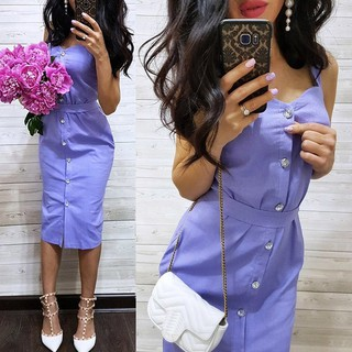 Women's Strap Midi Dress Sleeveless Wrap Chest Button Up V-Neck Dress