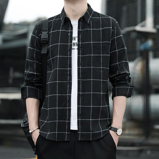 Ready Stock Men's Square Plaid comfortable cotton warm business leisure Long Sleeve Shirt Men