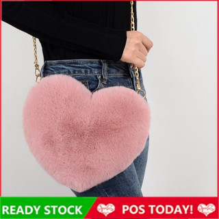 Murah Korean Cute Heart Love Sling Bag Women Plush Fluffy Bag Shoulder Bags Crossbody Beg