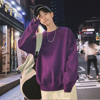 Sweater men's round neck pullover solid color loose sweater hundred tower Korean version of the tide men's clothing