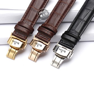 BULOVA watch strap watch butterfly buckle leather strap leather men and women st