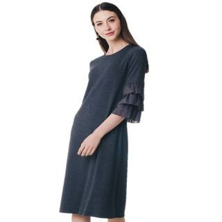 Nichii Ruffled Sleeve Ribbed Dress in Dark Grey (ZX2327-17123)