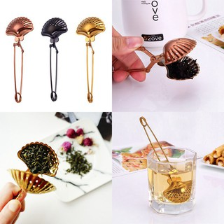 creative shell shape vacuum titanium plated stainless steel telescopic seasoning ball residue filter tea