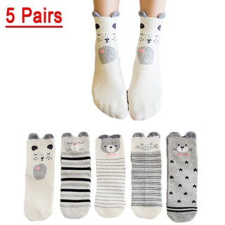 UNLIMON 5Pairs Harajuku Heart Socks Women Casual Soft Cotton Cute Animal Autumn