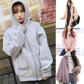Women Plus Velvet Sweater Zipper Hoodie Autumn Long Sleeve Casual Warm Clothing