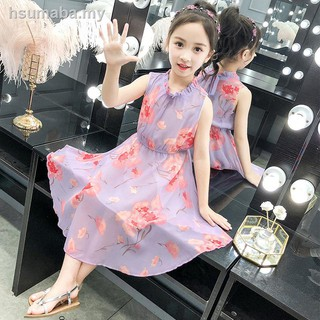 ๑Girls dress super fairy over-the-knee han edition cuhk children's summer wear in the of 2019 new chiffon beach