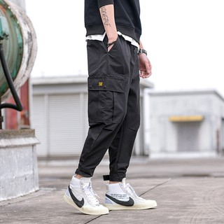 Hip-hop, two-leg pants, thin pants, loose feet, harem pants, multi-pocket, overalls, trousers, men's days
