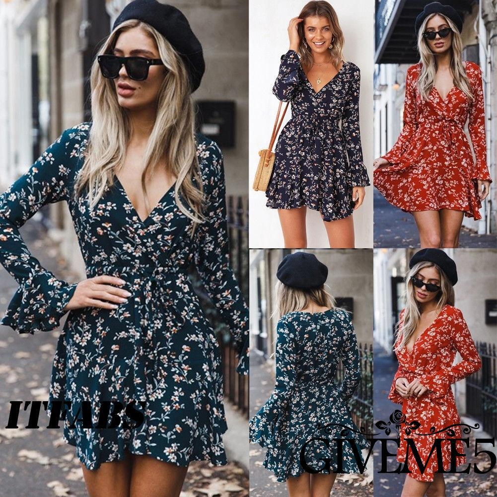 SK-New Womens Long Sleeve Boho Evening Cocktail Party Summer Beach Long Maxi