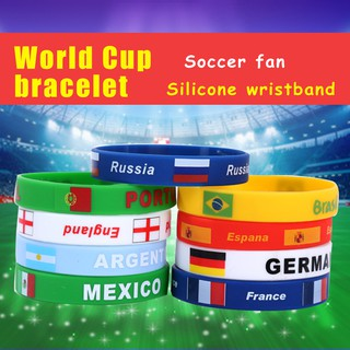 New Arrival 2018 World Cup Flag Wristband Rubber Hand Bands Silicone Bracelets
