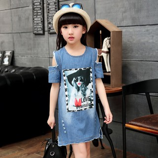 Girls 5 to 9 Years Girls Denim Dress Toddler Girls Party Dress
