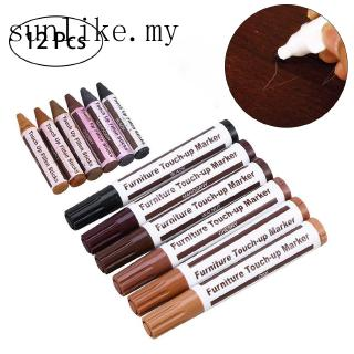 sunlikeWood Furniture Repair Pen Marker Pen Wax Scratch Filler Remover Repair Fix 12Pc