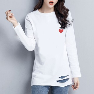 White long-sleeved T-shirt female New hem hole loose long ins bottoming shirt on