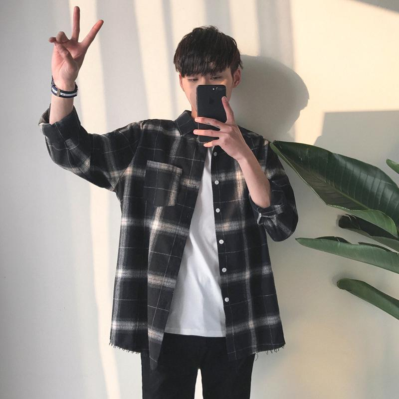 Men's Autumn And Winter Casual Loose Cotton Plaid Shirt Long-sleeved Shirt