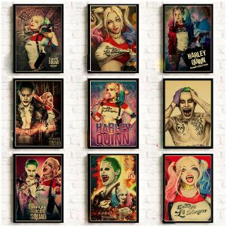 Suicide Squad Retro Poster Harley Quinn and The Joker Printed Art Poster Vintage Kraft Paper Bar Home Decor Painting