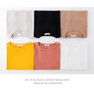 Harajuku Style  Women Solid Color Short Sleeve O-neck Loose T-shirt