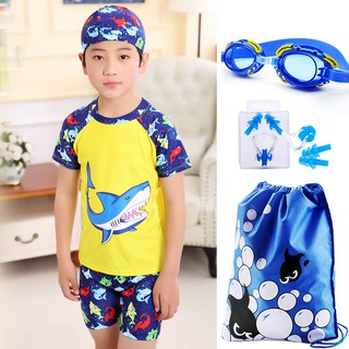▥Jin children suit boy swimming glasses fission little big small dinosaur bathing