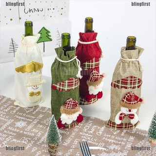 [Bling] Christmas Wine Bottle Cover Snowman Santa Claus Wine Bags Xmas Gift Table Deco [First]