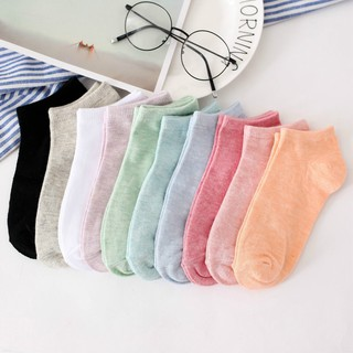 Women socks ladies colored cotton socks pure color invisible shallow short socks