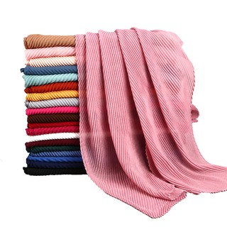 Hot TR Cotton Pleated Crumple Plain Shawl Hijab Head Scarf 22 Color Ready Stock