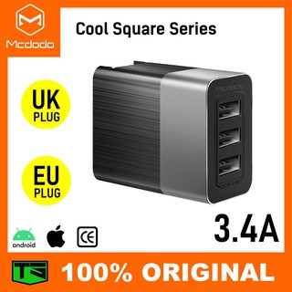 【TsTech】Mcdodo Cool Square series 3.4A 3 USB Output EU & UK Adapter Charger - CH534