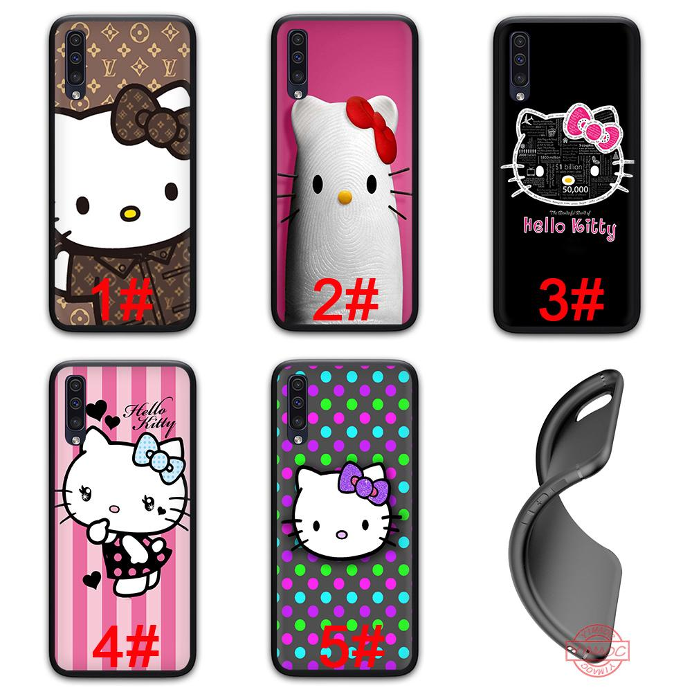 Hello Kitty Minimal Soft Silicone Black TPU Case Samsung Galaxy A10 A20 A30 A40 A50 A70 M10 M20 M30 Note 8 9