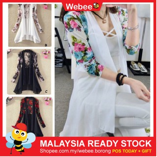 READY STOCK WEBEE Women Baju Dress Tops Kod Long Sleeve Flora Cardigan Soft Chiffon