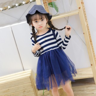 Spring Baby Girls Stripe Long Sleeve Bowknot Dress Gauze Skirt Princess