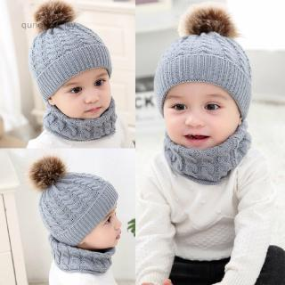 For Baby Boy Girl Winter Hat Toddler Kid Warm Crochet Cap with 2 plush balls