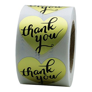"1incn "" Gold Heart Shaped Foil Thank You Stickers Labels for Wedding,"