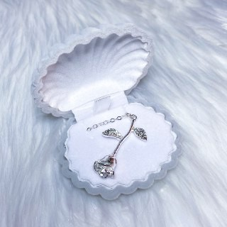 MALAYSIA READY STOCK SILVER ROSE NECKLACE JEWELLERY