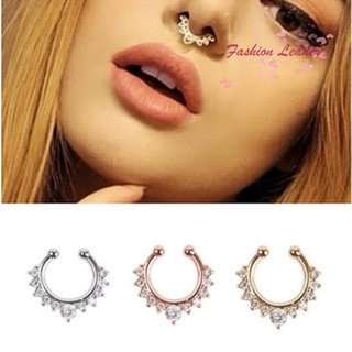 FL Nose Ring Piercing Crystal Fake Septum Piercing Hanger Clip On Body Jewelry Nose Hoop