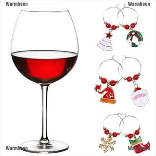 Warmbeen 6PCS Christmas Wine Glass Rings Mark Charms Pendant Xmas Party Table Decor Gift