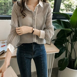 Women's Korean temperament black and white plaid long-sleeved shirt loose thin s