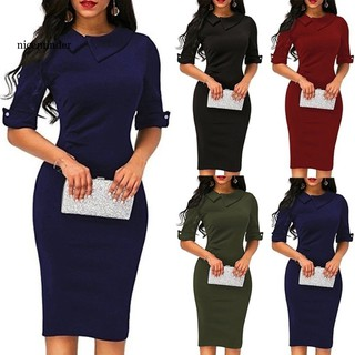 NICE Office Lady Solid Color Turn-down Collar Half Sleeve Bodycon Midi Pencil Dress