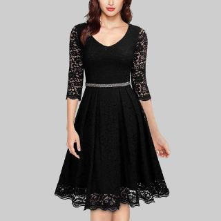 Women Dress Lace Solid Color V Neckline Three Quarter Sleeve Hollow Out Knee Length Elegant One-Piece (Black)
