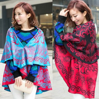 Tourism in yunnan ethnic wind shawl round to wear scarf and female autumn winter warm cape coat