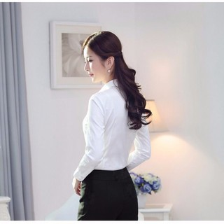 White cotton shirts female professional ol dress with short sleeves v-neck shirt overalls qiu han edition cultivate on