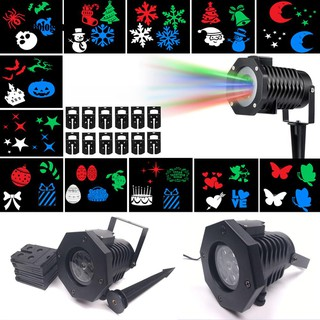 LED Wall Snowflakes Christmas Spotlight Projectors Party Light 12 Pictures Lamp