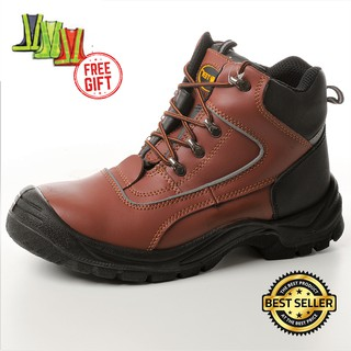 SAFETY BOOTS STEEL TOECAP SMOOTH LEATHER ANTI SLIP (Size: UK 4,5,6,9,10,11,10)
