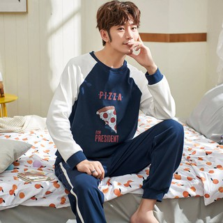 Men's pajamas cotton long-sleeved cartoon cute student youth men's thin section home service suit tide955