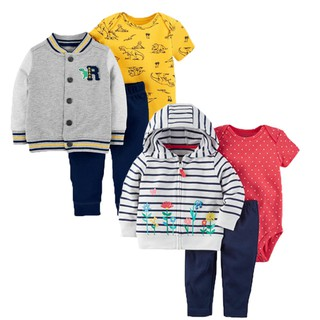 A piece of hair spring and autumn children's clothing wear boys girls cotton hood long-sleeved baby three-piece set