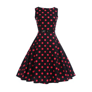 【Free Belt】 Wave Point Vintage Retro Black Dresses For Women Party Sleeveless