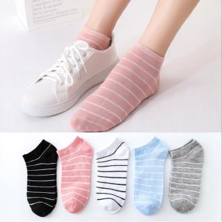 Fashion Women Socks Soft Cute Korean Striped Sport Soft Breathable Ankle Hosiery