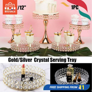 Gold/Silver crystal serving tray Cupcake Makeup Orgnizer tray Wedding decor